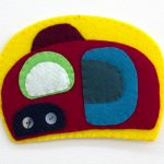 Ovoid Felts, Charlene Vickers (Anishnabe), Watercolour, paper, shell buttons, glass beads on felt with embroidery edges, SOLD