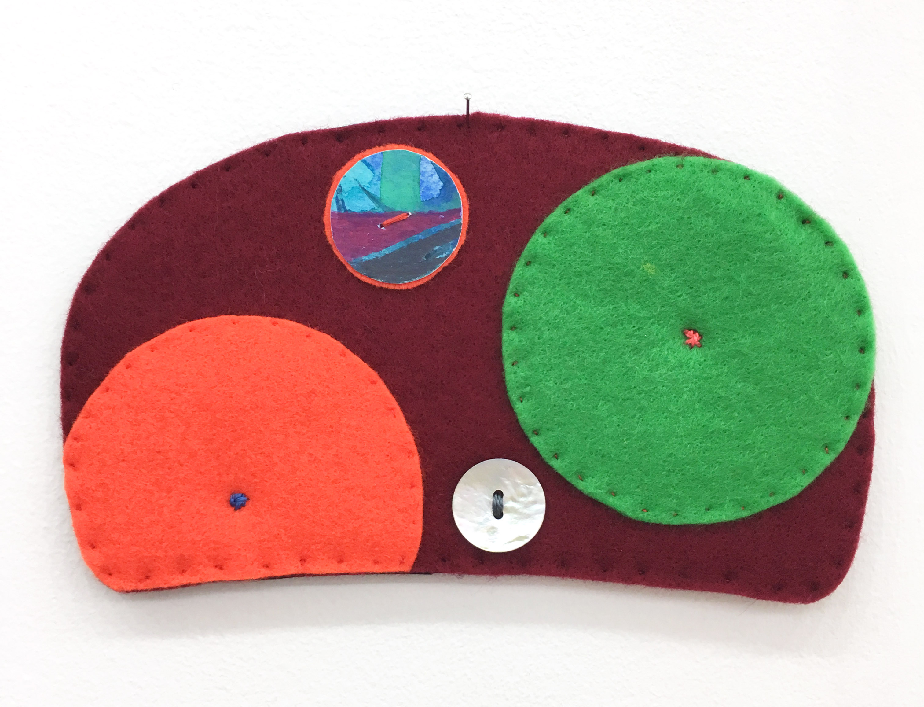 "Ovoid Felts, Charlene Vickers (Anishnabe), Watercolour, paper, shell buttons, glass beads on felt with embroidery edges, 7"" x 4"", $600"