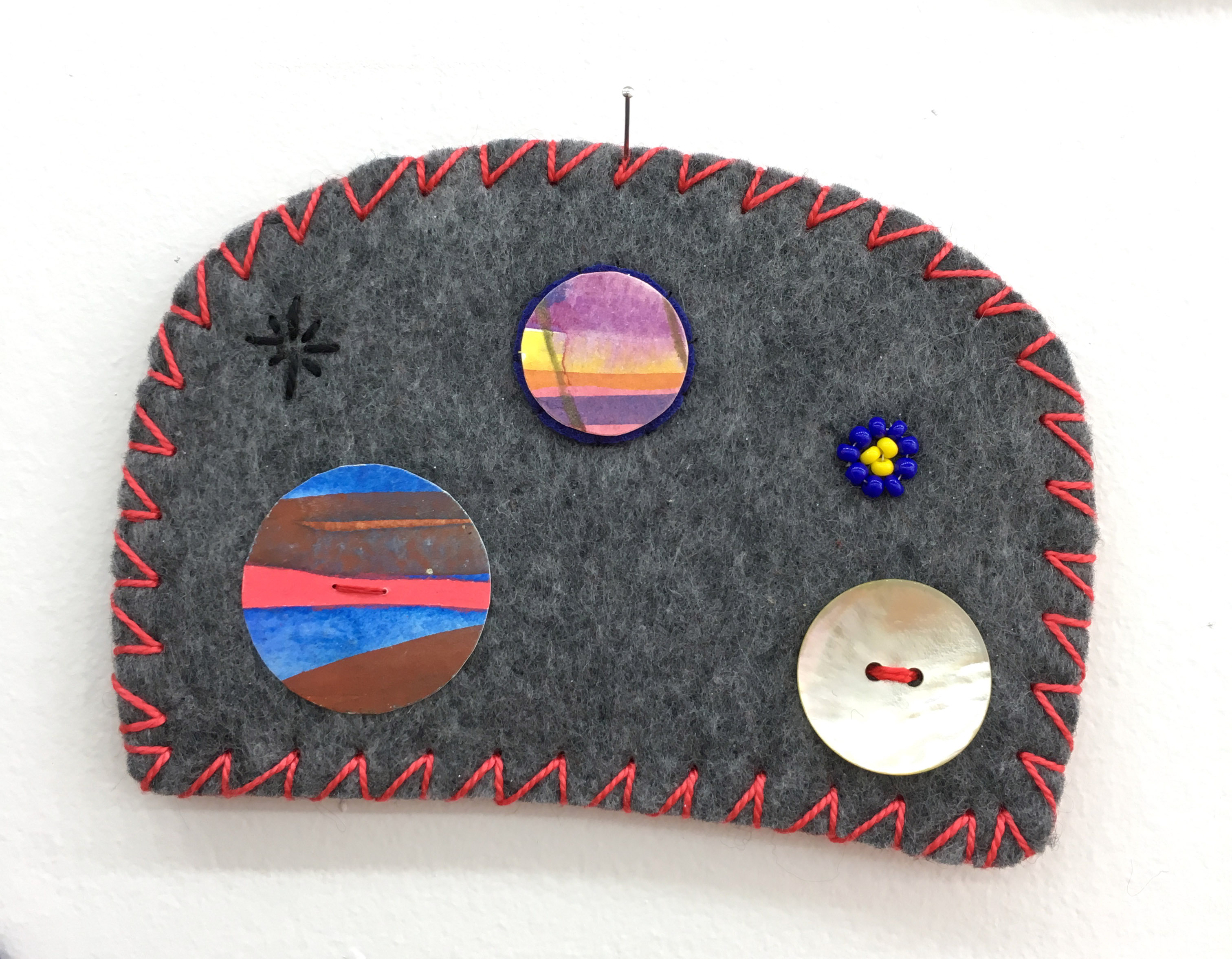 """Ovoid Felts, Charlene Vickers (Anishinabe), Watercolour, paper, shell buttons, glass beads on felt with embroidery edges, 5"""" x 3.5"""", SOLD"""