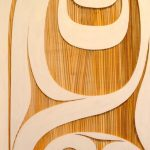 "Modern Worlds I, Rande Cook, Sandblasted and painted red cedar, 24"" x 48"", SOLD"