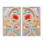 "Provoking Space and Time (Diptych), Rande Cook (Kwakwaka'wakw), Sandblasted and painted red cedar, 30"" x 48"" x 1.75"" (each), SOLD"