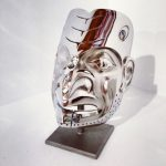 "Predator Cannibal Mask, Robin Lovelace, Cast stainless steel with abalone edition/19, 13"" x 9"" x 7"", $28,000"