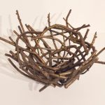 "Bronze Raven's Nest, Trace Yeomans (Haida), One of a kind bronze, 19.5"" diameter x 9"", $5,000"