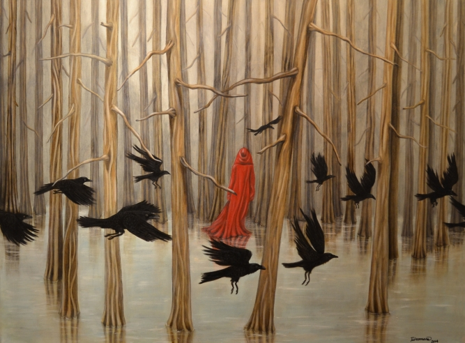 "Dream of Ravens, Trace Yeomans (Haida), Oil on canvas, 48"" x 36"", $5,000"