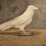 "White Raven, Trace Yeomans (Haida), Oil paint and sand on wood, 48"" x 39"", SOLD"