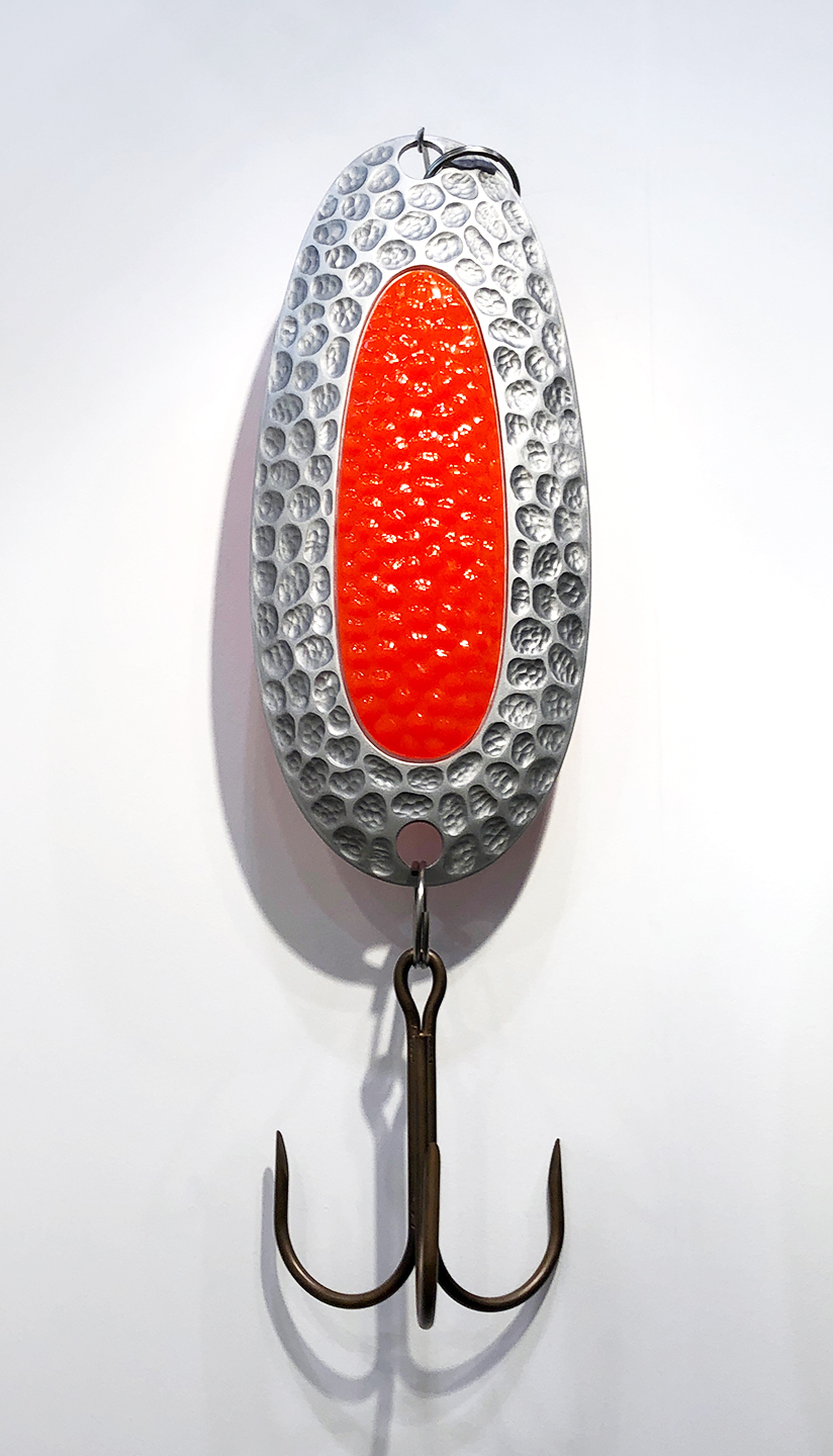"Large Fishing Lure 1, 2018, Couzyn van Heuvelen (Inuk), Steel, aluminium, resin, 54"" x 18"" (approx.), $9,000"