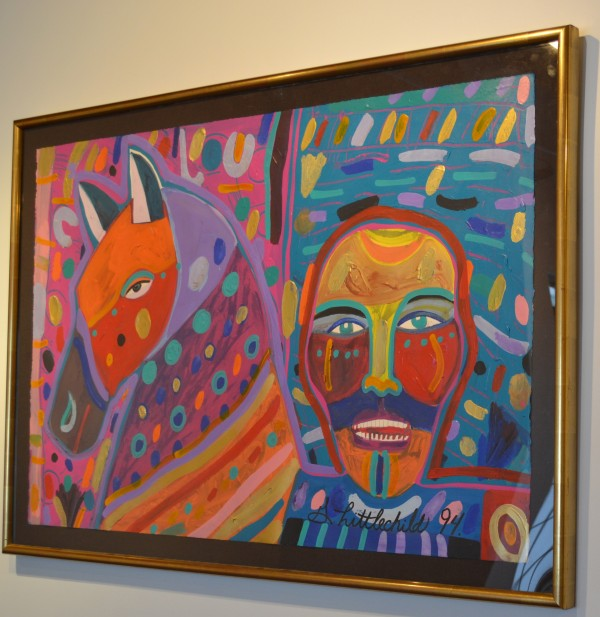 "Untitled by George Littlechild (Cree) Acrylic on paper 53"" x 36 1/2"" $8,000.00"