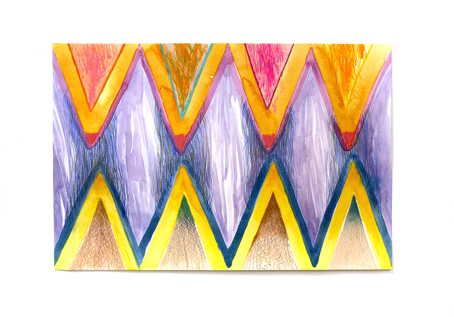 """Purple and Blue Energies, 2016, Charlene Vickers (Anishnabe)Watercolour and pencil crayon on paper, 21"""" x 14"""", $800 unframed"""