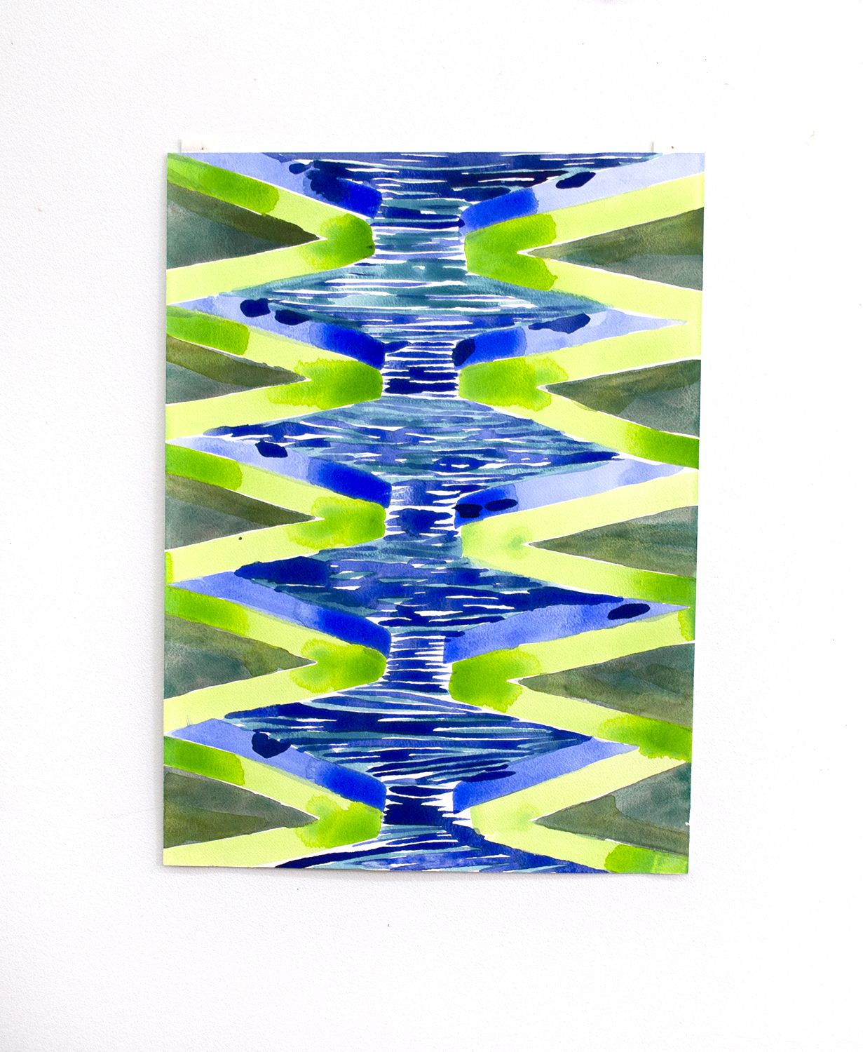 "Zig Zag Water 1, 2016, Charlene Vickers (Anishnabe), Watercolour on paper, 19"" x 14"", $1,000 unframed"
