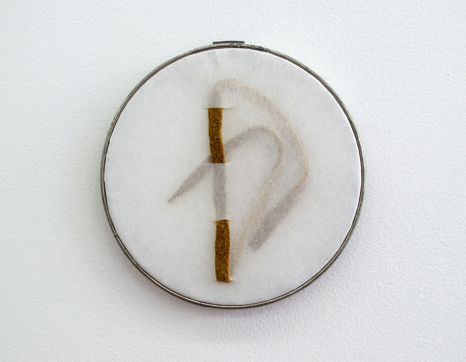 "Untitled (Hoops with Fur Scraps) (14), 2015, Maureen Gruben (Inuvialuk), white interface, moose hide, sewing hoop, 6"" diameter, POR"