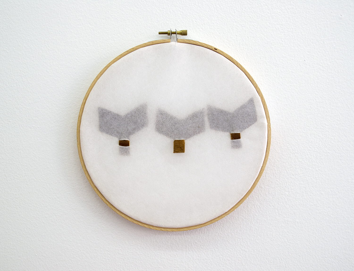 "Untitled (Hoops with Fur Scraps) (6), 2015, Maureen Gruben (Inuvialuk), white interface, moose hide, sewing hoop, 7.5"" diameter, POR"